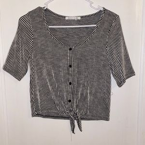Caution To The Wind B&W Striped Top